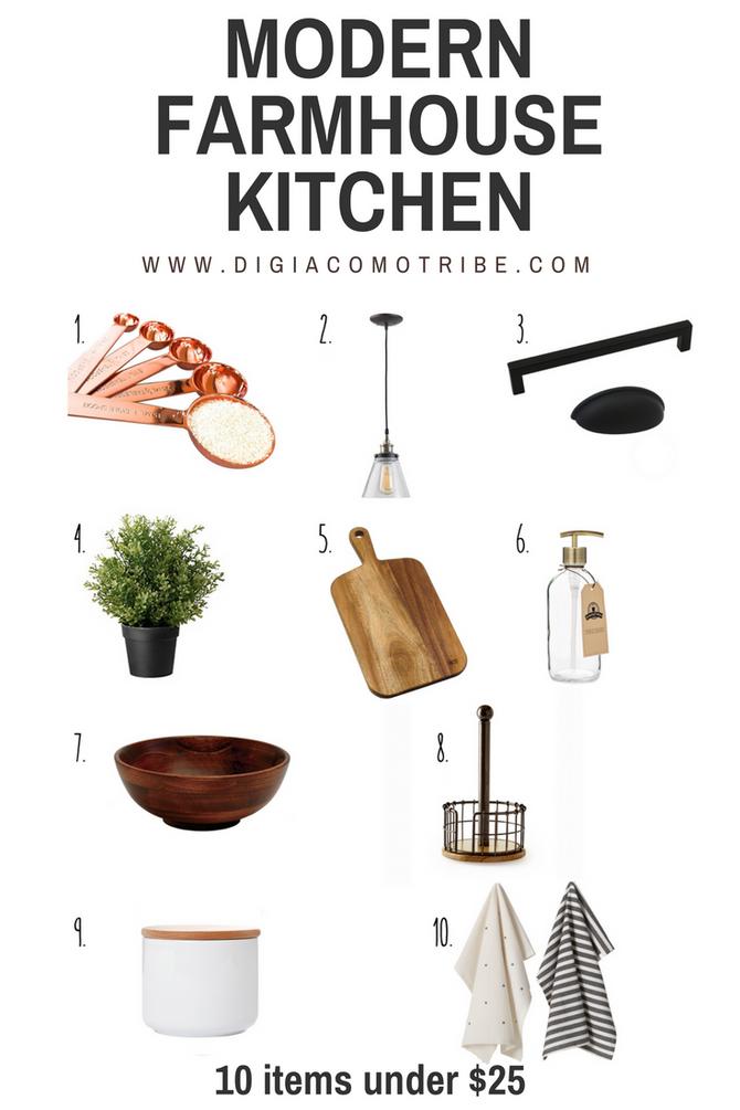 10 Items under $25- Modern Farmhouse Kitchen