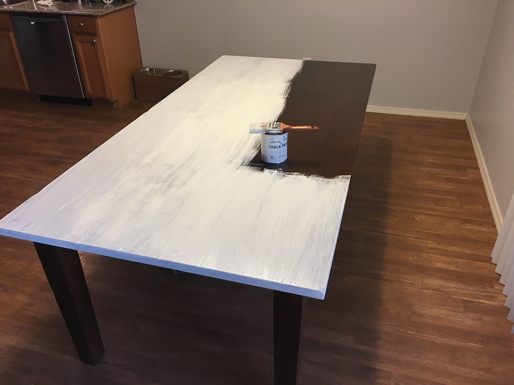 before photo2- dining room table makeover