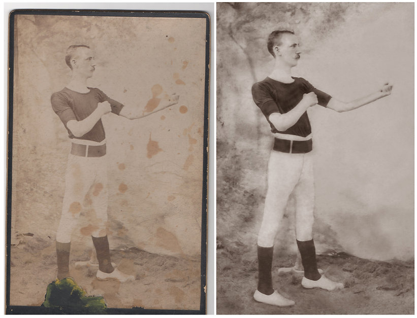 Restoration of old photographs before and after discolouraton