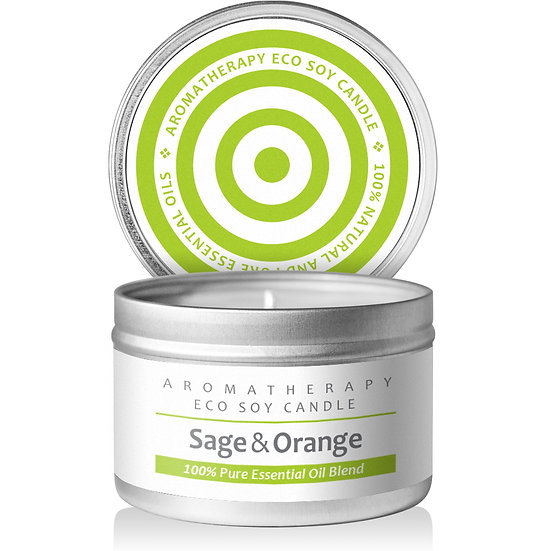 I & Candle, Aromatherapy Soy Wax Scented Candles (Sage & Orange)