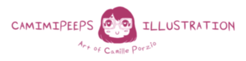 "Logo Readng ""Camimipeeps Illustration: Art of Camille Porzio"""