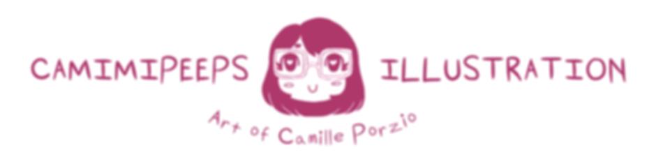 """Logo Readng """"Camimipeeps Illustration: Art of Camille Porzio"""""""