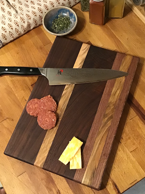 Double Walnut and Maple Cutting or Serving Board