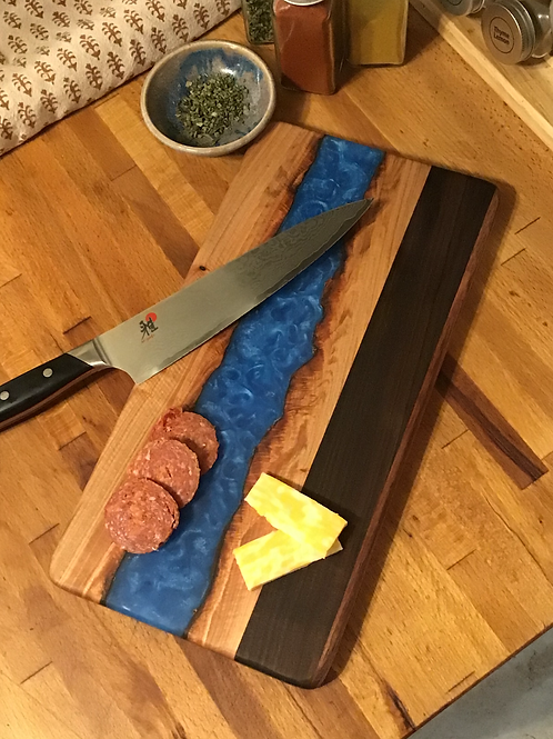Blue River with Maple Live Edge Cutting or Serving Board