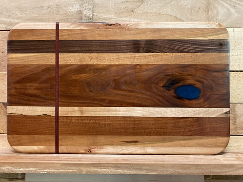 Red strip and blue epoxy