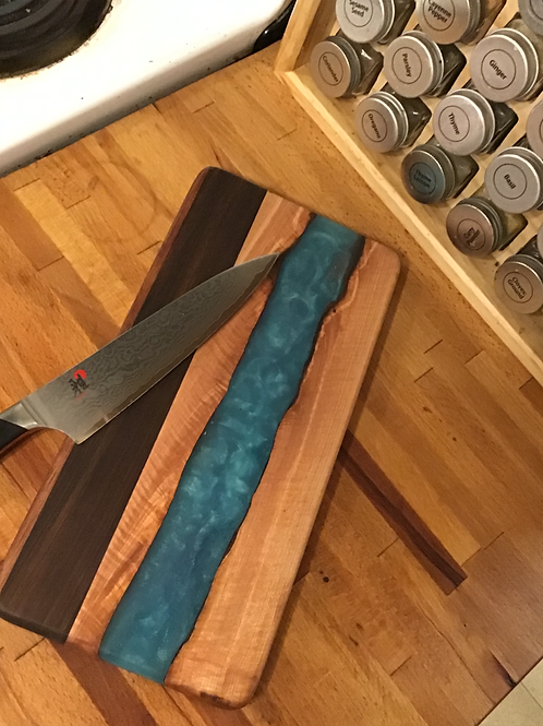 Maple Live Edge with Blue River Cutting or Serving Board