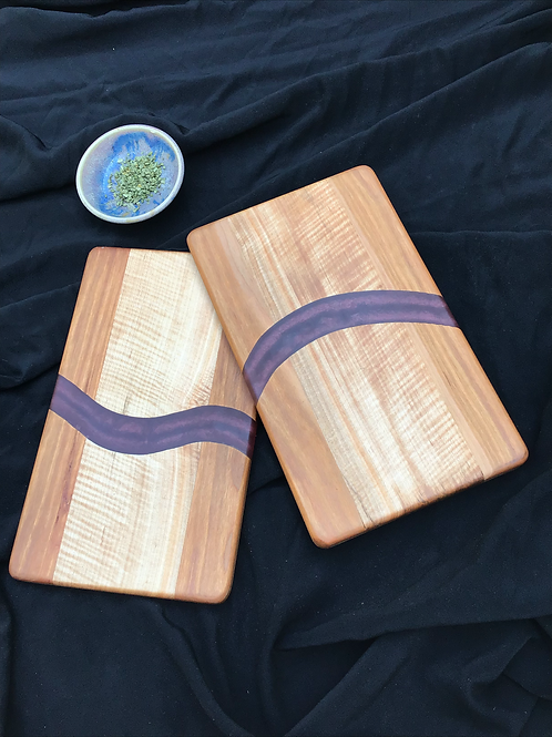 Pair of Purple Epoxy Cutting or Serving Boards