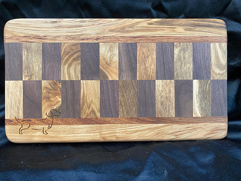 Mahogany, Pecan, Oak, and Maple Checkered Cutting or Serving Board