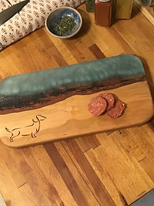 Live Edge Blue Ocean Serving Board