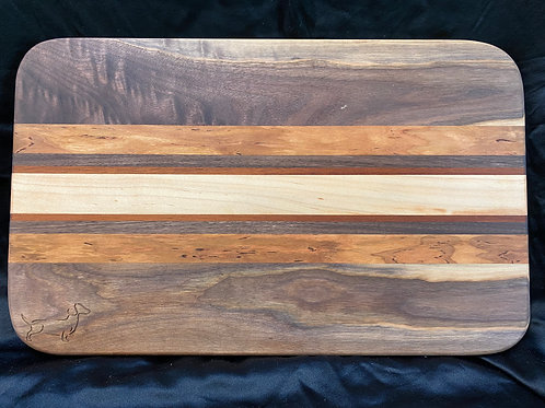 Exotic Brazilian Mahogany, Maple, Oak and Pecan Cutting or Serving Board