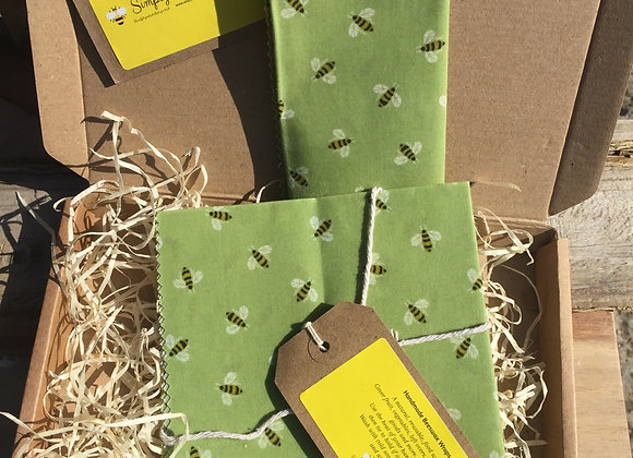 Mini Bees On Green Beeswax Wrap