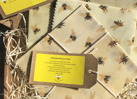 Honey Bee on Cream BeesWax Wrap