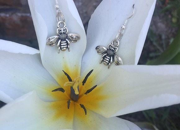 Earrings Honey Bee - silver plated