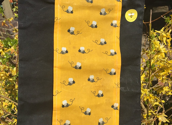 Sunny Bees On Black Beeswax  Produce Bags