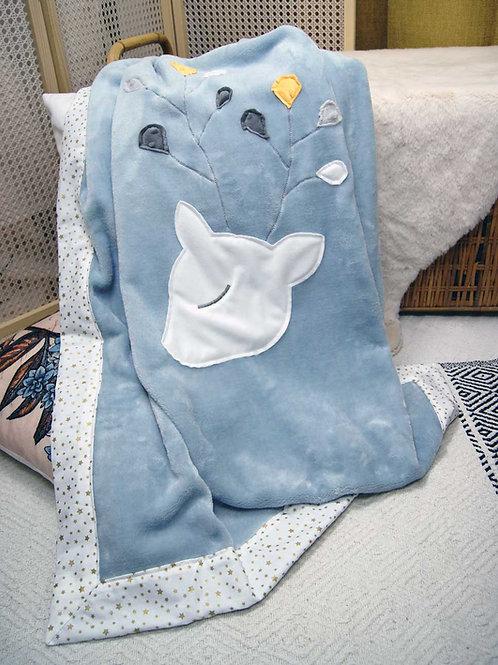 Couverture biche Oeko tex* bleue