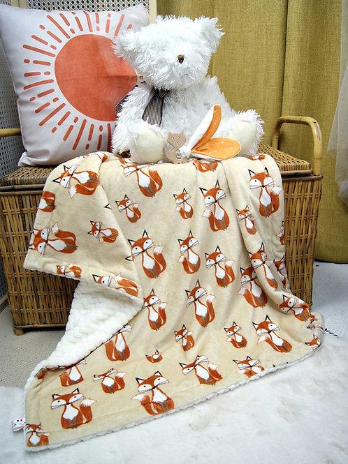 Couverture Oeko tex et anneau dentition renard pour bébé