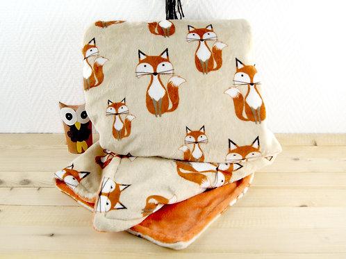 Couverture bébé - Bi face renard Oeko tex orange