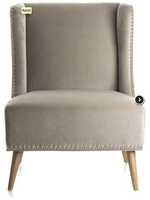 Fifth Avenue stol i velour m/sølvnagler