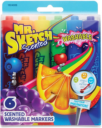 Mr. Sketch Scented Washable Markers, Assorted Colors, Pack of 6