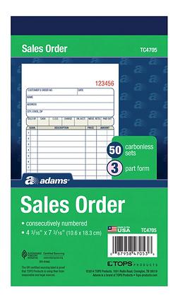 Adams Carbonless 3-part Sales Order Books - 50 Sheet(s) - 3 Part