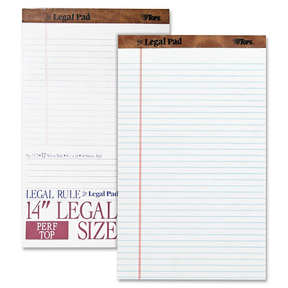 TOPS Legal Pad, Legal Size, Wide Ruled Perforated, 50 Pages