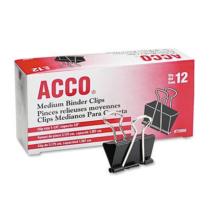 ACCO Binder Clips, Medium, Black/Silver, Dozen