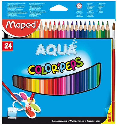 Maped 24pc Color Pep's Water Coloured Pencils with Paintbrush