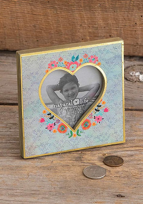 Natural Life Turquoise Floral Heart Photo Frame