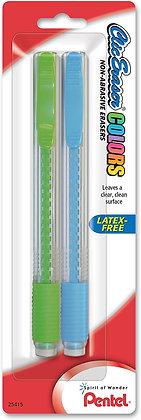 Pentel Clic Eraser Colors, 2 pack, Assorted Colors