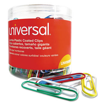 Universal Plastic-Coated Paper Clips, Assorted Colors, Plastic Tub