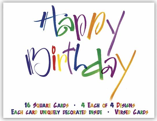 Cheerful Happy Birthday - Assorted Birthday Cards Box of 16