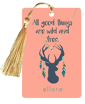 Stag Head Necklace - Silver on Wild and Free Card