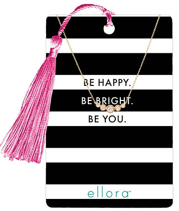 Graduated Five CZ Necklace - Gold on Be You Card