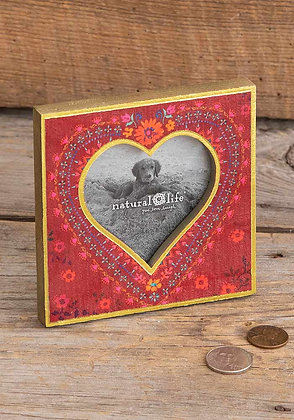 Natural life Red Floral Heart Photo Frame