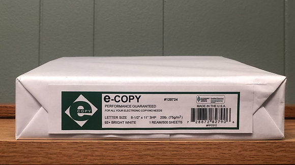 ECopy 3 Hole Punch 8/12 x 11 20 Lb, Ream Of 500 Sheets