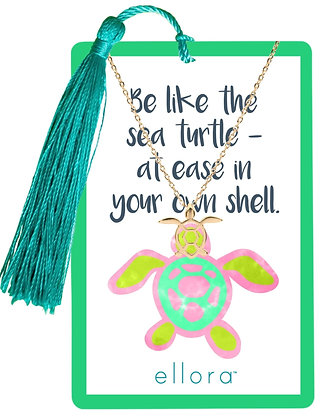 Sea Turtle Necklace - Gold on Tropical Card