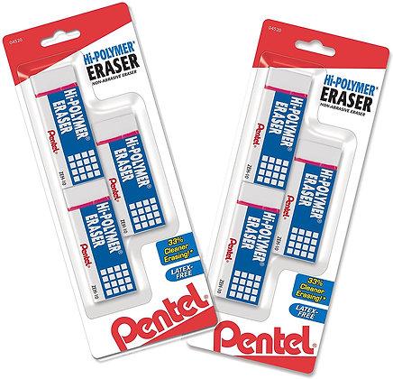 Pentel Hi-Polymer Latex Free Block Eraser, White, 3/Pack