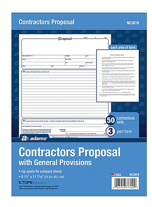 """Adams 3-Part Carbonless Contractor Proposal Forms Pack, 8.5"""" x 11.44"""""""