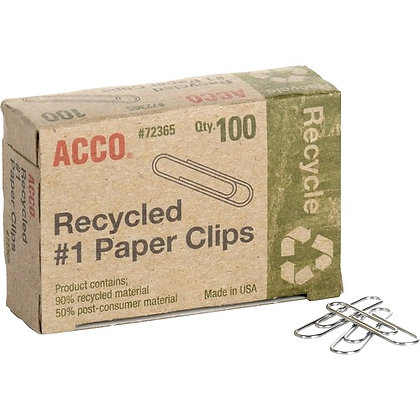 Acco Recycled Paper Clips - No. 1 - 10 Sheet Capacity - Durable, Reusable - 1000