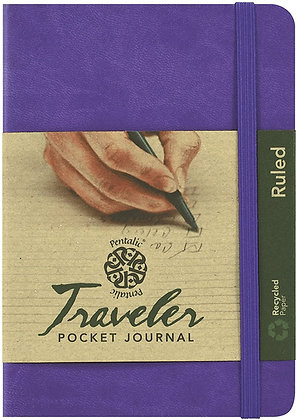 "Pentalic 3 x 4"" Pocket Ruled Traveler Journal, 160 Pages, Purple"