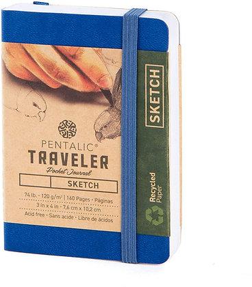 """Pentalic 3 x 4"""" Pocket Sketchbook Traveler Journal, 160 Pages, Royal Blue"""
