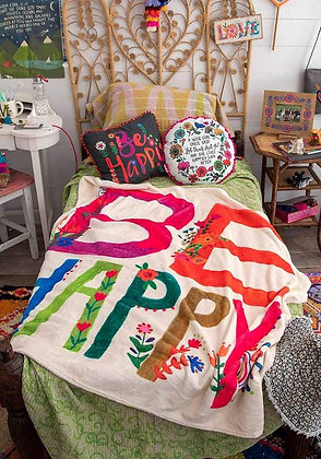Natural Life  Be Happy Tapestry Blanket