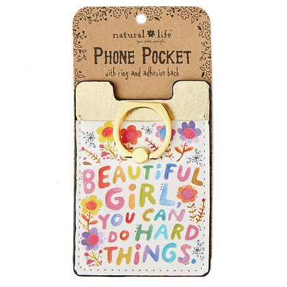 Natural Life Beautiful Girl Cell Phone Pocket with Ring