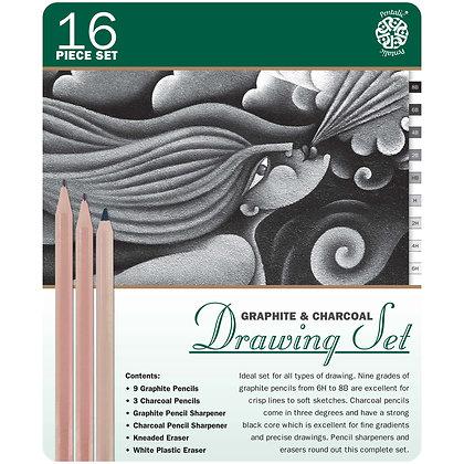 Pentalic Graphite & Charcoal Drawing 16 Piece Tin Set