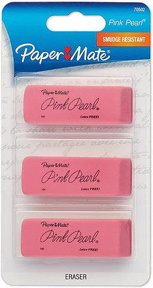 Paper Mate Pink Pearl Eraser, Rectangular, Medium, Elastomer, 3/Pack