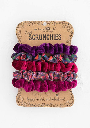 Natural Life Print and Velvet Scrunchies|Berry