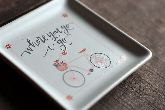 Primitives by Kathy Where You Go Bicycle Trinket Dish