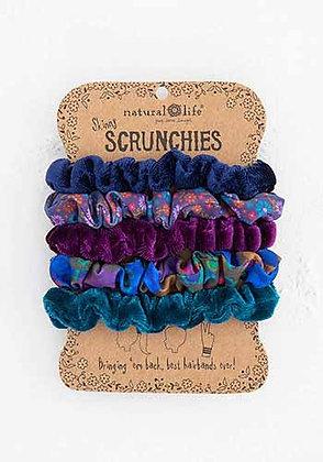 Natural Life Print and Velvet Scrunchies|Navy