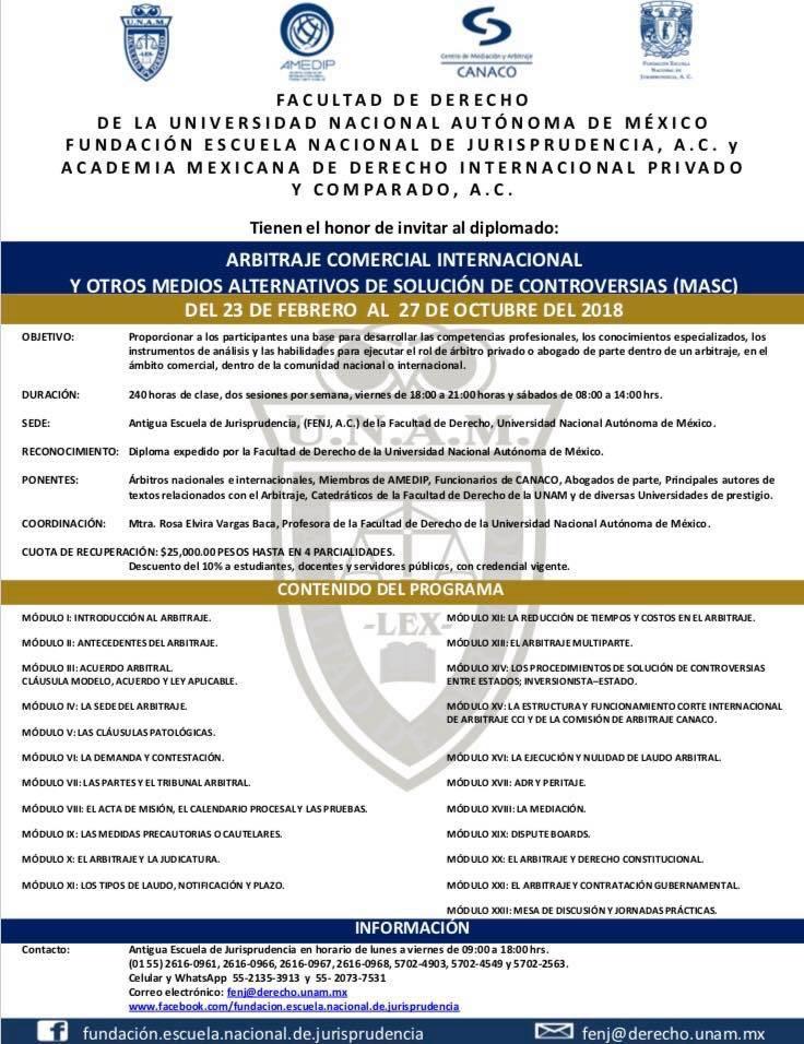 Diplomado Arbitraje Comercial Internacional y MASC