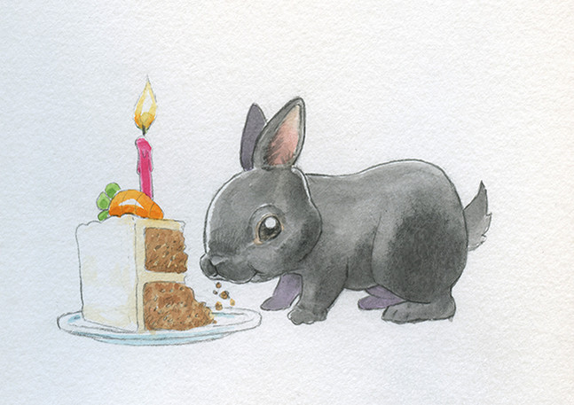 Carrot cake for the birthday bunny.